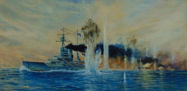 HMS Barham at The Battle of Jutland, 1916 by Kevin Mctomney