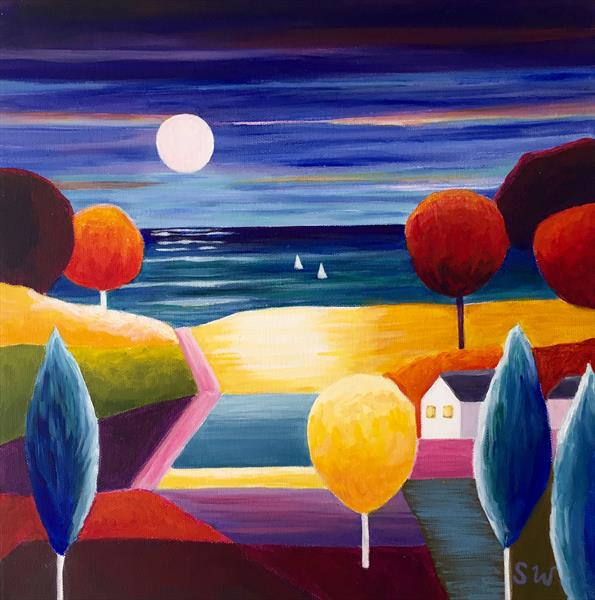 Two Boats at Night 2 by Suzie Wainman