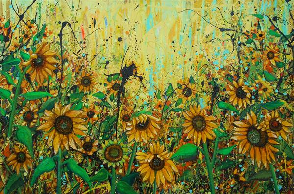 Sunflowers - Large painting by Angie Wright