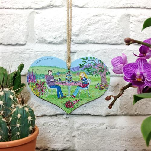 Happy Anniversary glossy vinyl print heart shaped wooden plaque by Lisa-Marie Davies