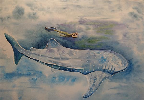Open ocean deep blue sea tiger whale with diver Artist watercolour paper A2 by Elena Haines