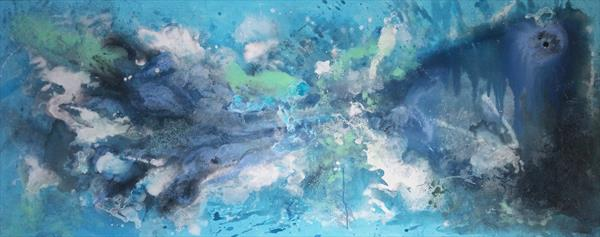 "59x 23,5""( 150x60cm), Best Mood 10, Landscape, blue painting ,sea , ocean, art, home painting by Veronica Vilsan"