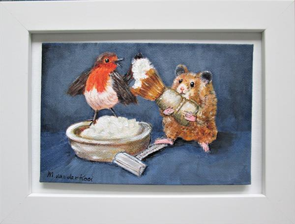 A Close Shave. Hamster and Robin bird. Framed Gift for him by Marjan's Art
