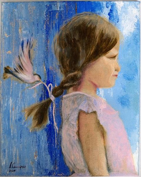 Little girl with bird  by Alba Campos-Vazquez