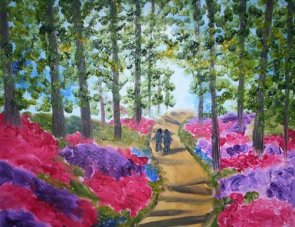 Lovers Stroll in the Woods Full of Flowers