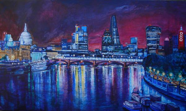 London Night reflections (Giclee Print) by Patricia Clements