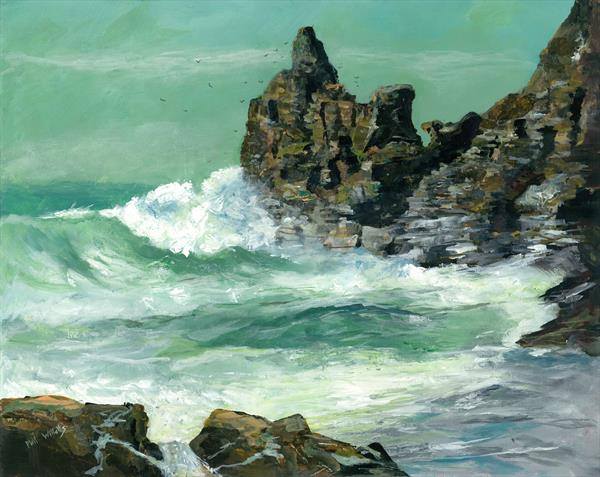 Rough sea at Trevaunance Cove by Phil Willetts