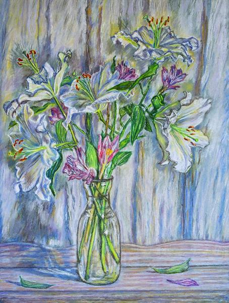 White Lillies in a Vase by Patricia Buckley
