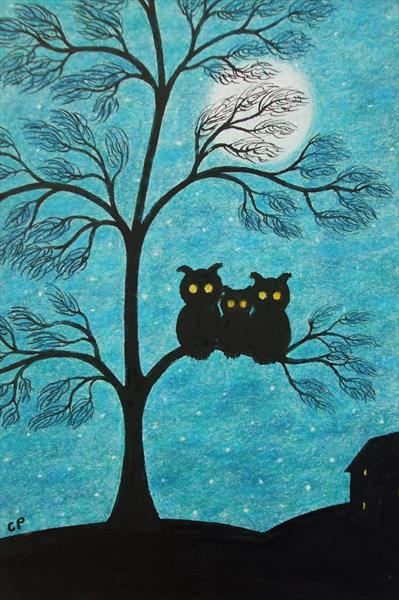 Owls Family in Tree (Framed) by Claudine Peronne