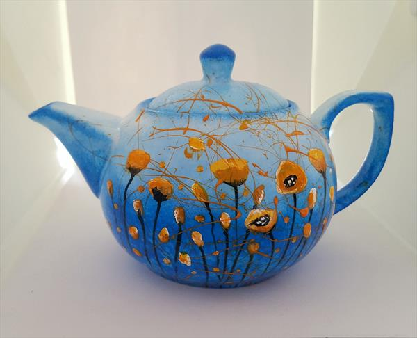 ORANGE POPPIES IN THE SKY PORCELAIN TEAPOT by Cinzia Mancini