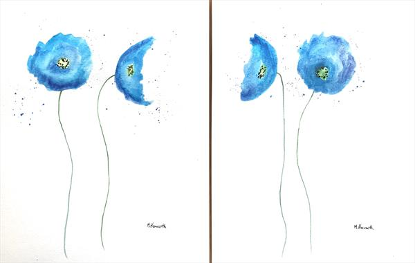Blue floral paintings set of 2 (9x12) by Monika Howarth