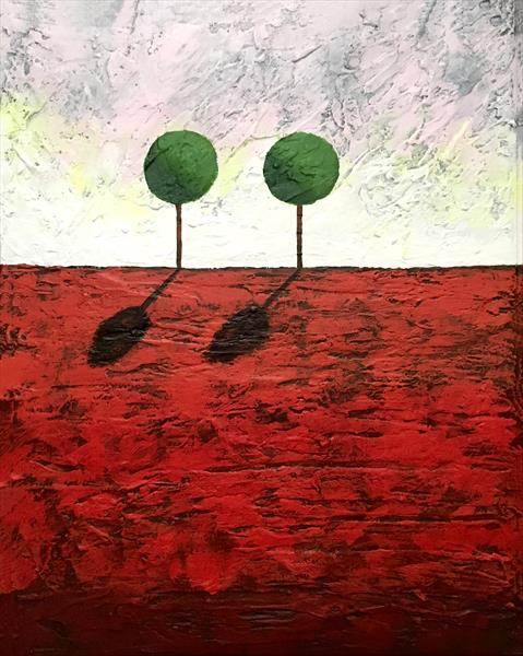 "Two tree hill, landscape impasto painting on canvas ready to hang mixed media painting 16 x 20 ""  by Stuart Wright"