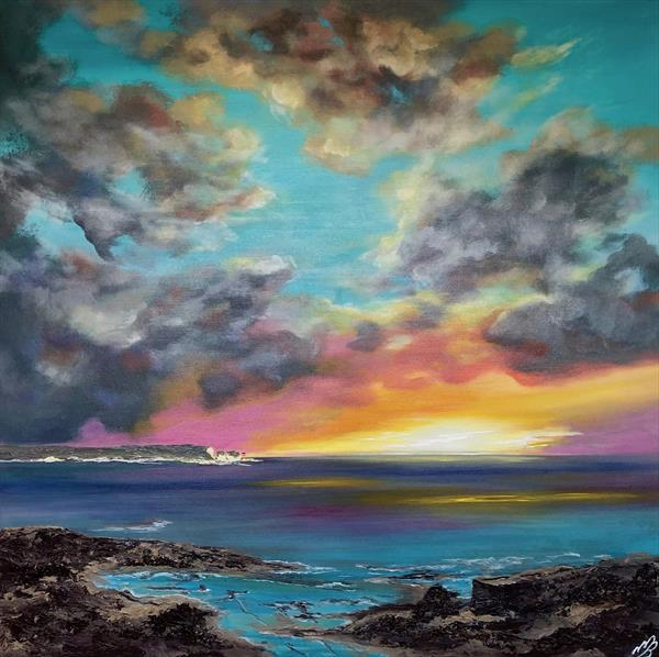 Sunrise over the Isle of Wight on a large canvas by Marja Brown