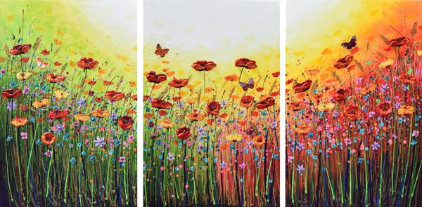 Bursting Flowers and Butterflies (Extra Large) by Amanda Dagg