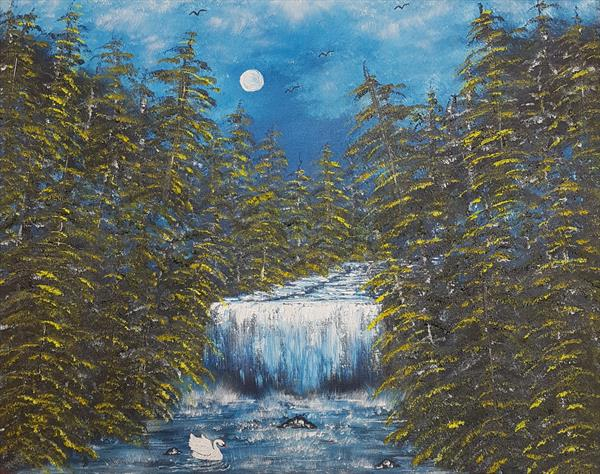 Moonglow falls in summer  by angela whitehouse