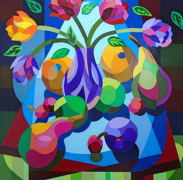 STILL LIFE WITH FOUR CHERRIES by Stephen Conroy