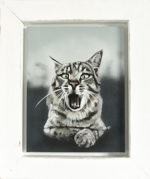 The Yawn: Cat painting by Victoria Coleman