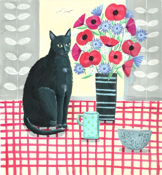 Black cat with flowers by Mary Stubberfield