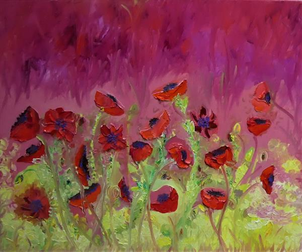 Red hot Poppies by Lesley Blackburn