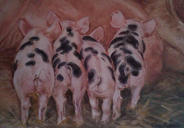 Piggy wigs all in a row  by Jenny Schrag