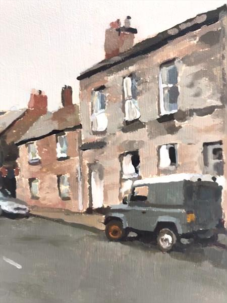 Berwick Upon Tweed with Land Rover - oil on board by James  Bloomfield
