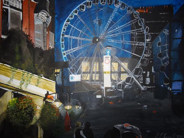 Manchester Wheel at Night by lyndon carnall