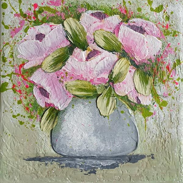 Small Vase With Roses by Cinzia Mancini