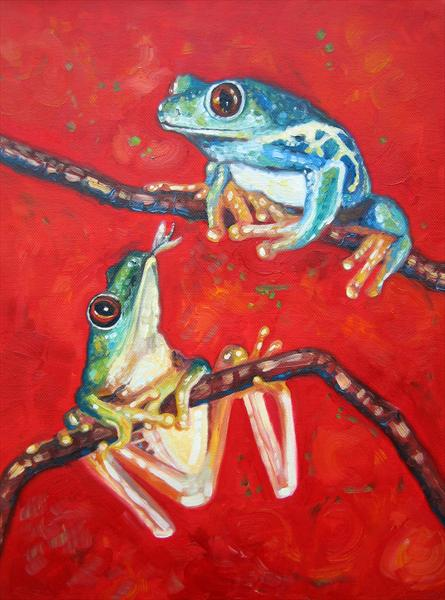 Tree Frogs in Love by Gill Bustamante