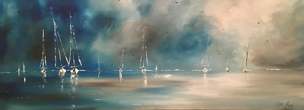 Sails against a blue sky III by Pippa Buist