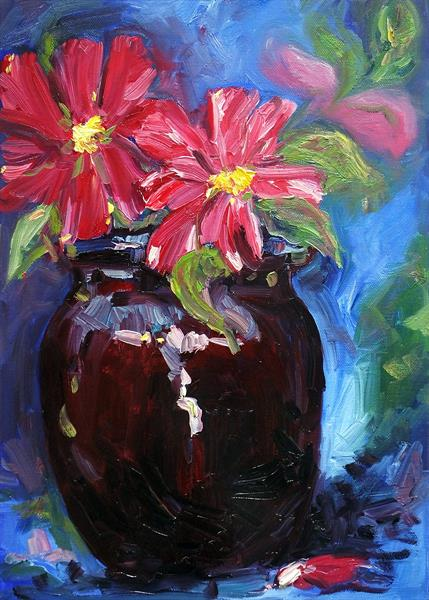 Pot with red flowers. by Arie Coetzee