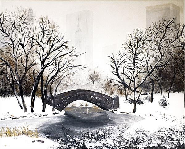 Snowy Central Park by Tracey Unwin