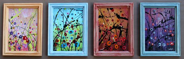 Four Seasons #4 - Set of 4 framed paintings- Ideal gift idea! by Cecilia Frigati
