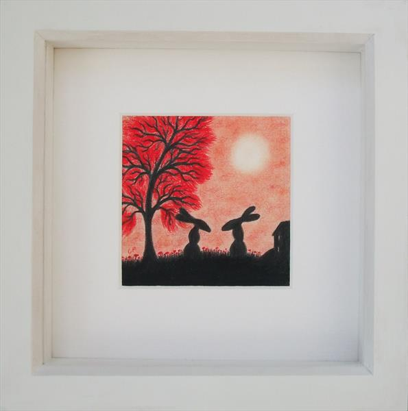 Hares Silhouette (Framed) by Claudine Peronne