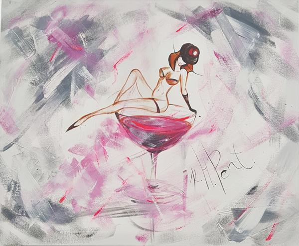 'Little Black Hat Pink Martini' Nude by Kat  Herrgott-Penter