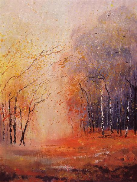 Autumn Woods Impressionist