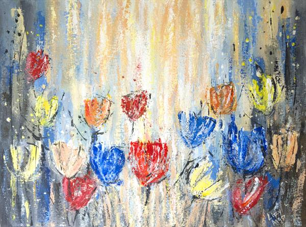 Energising Tulips - Original acrylic palette knife painting on canvas by Lizzy Agger