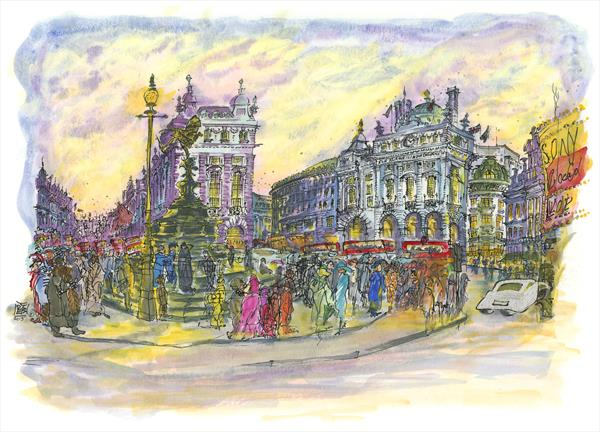 PICCADILLY CIRCUS AT DUSK - THE TWILIGHT HOUR by Patricia Edith Mary Thompson