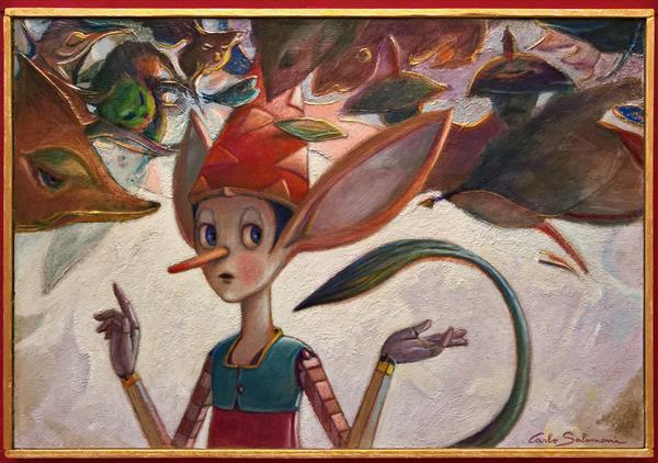 PINOCCHIO BETWEEN GUARDS AND THIEVES - ( Framed ) by Carlo Salomoni