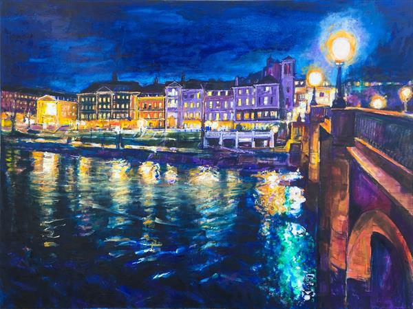 Richmond Bridge at night, London Painting by Patricia Clements