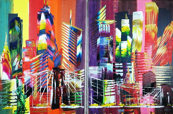 New York City 2 piece Abstract 917 by Eraclis Aristidou