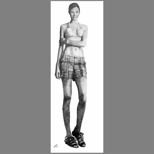 Woman Standing Full Size Pencil Sketch by Steven Lynch