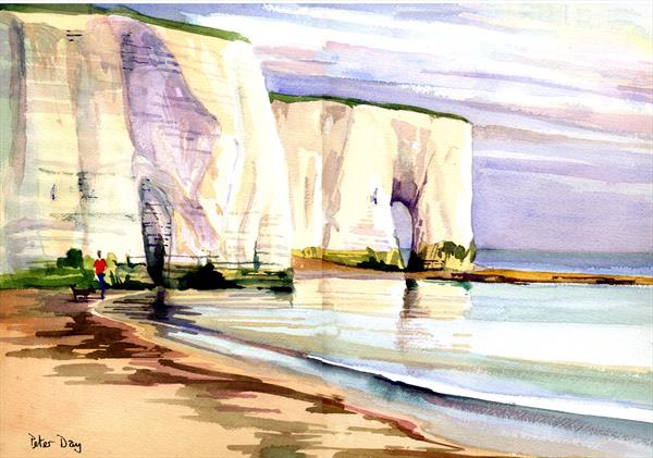 The Arch at Kingsgate Bay, Broadstairs, Kent. Chalk Cliffs, Beach & Sea by Peter Day
