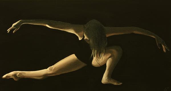 Dancer in the Dark Vol 2, Contemporary Ballerina Painting by Alex Jabore