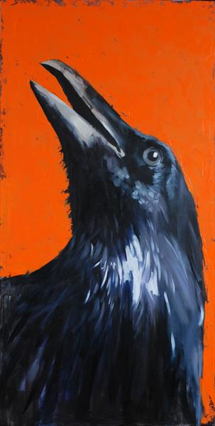 Portrait of a crow, trying to find God in himself.2