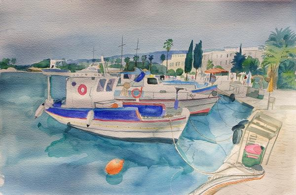 Boats in the harbour by Mary Stubberfield