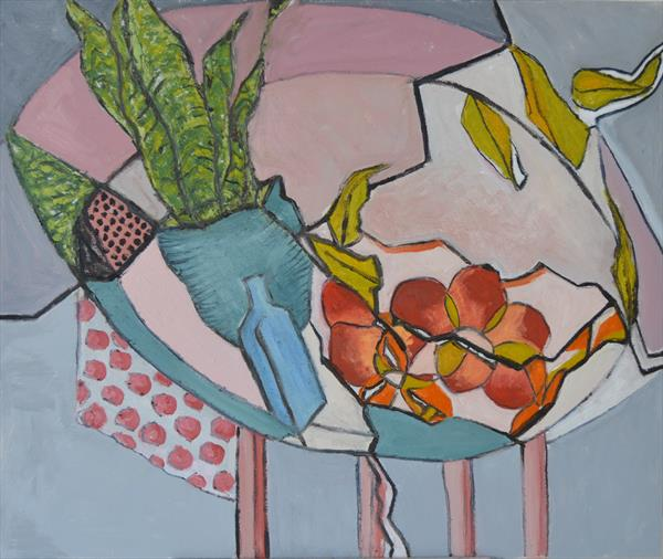 Peaches and plant still life by Melissa Pentney