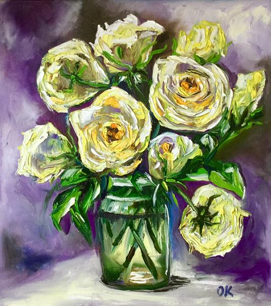 Yellow roses on purple background  by Olga  Koval