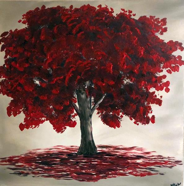 Magical Red Tree by Aisha Haider