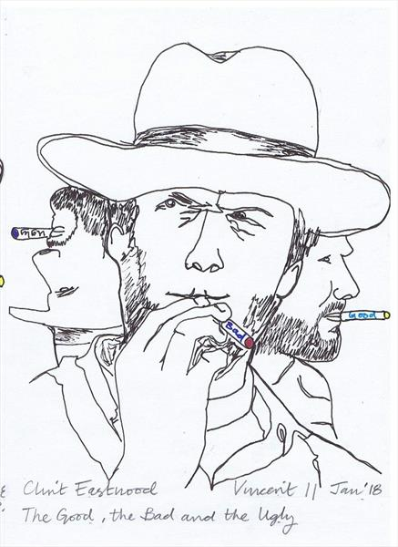 Drawing Project: Triptych of Clint Eastwood, the Good, the Bad and the Ugly by Vincent da Vinci