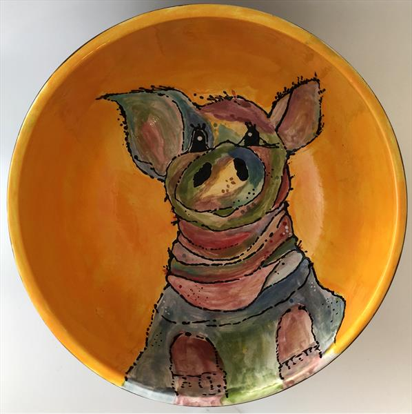Cute Pig Ceramic Cereal Bowl by Julie Anne